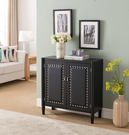 Kings Brand Furniture 2 Door Entryway Console Table Accent Cabinet Black