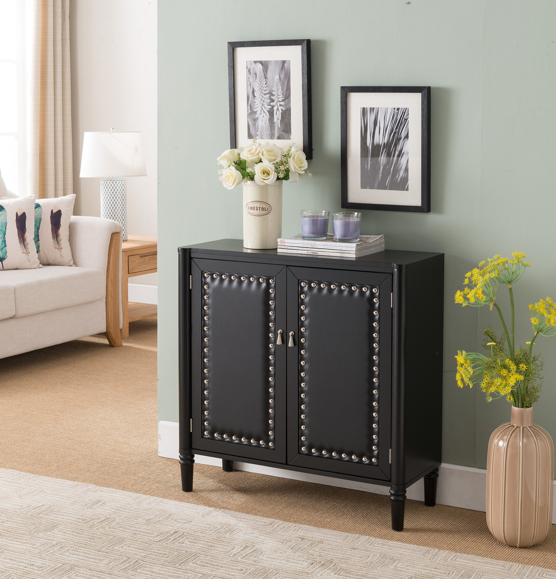 Kings Brand Furniture 2 Door Entryway Console Table Accent Cabinet, Black