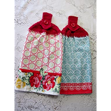 Set of 2 Double Layer Hanging Kitchen Hand Towels - Vintage Floral Spring Flowers Blue, Yellow & Red Pioneer Woman Best Quality Crochet Top Towels, Wedding Gift,