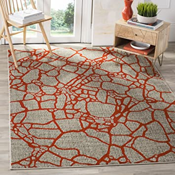 Amazon Com Safavieh Porcello Collection Prl7737f Modern Abstract Non Shedding Stain Resistant Living Room Bedroom Area Rug 6 X 9 Light Grey Orange Furniture Decor