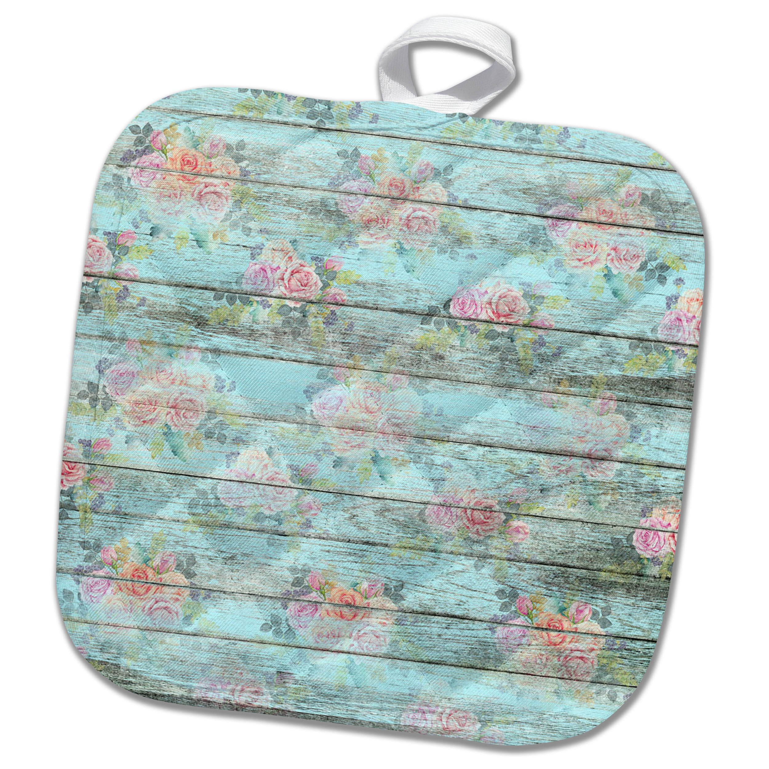 3dRose Anne Marie Baugh - Patterns - Chic Pink Roses On A Printed Faux Aqua Wood Pattern - 8x8 Potholder (phl_283308_1)