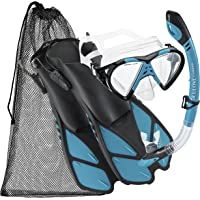 Cressi BNTMFSS AQ-SM Adjustable Mask Fin Snorkel Set with Carry Bag, Size 4.5 to 8.5, Aqua