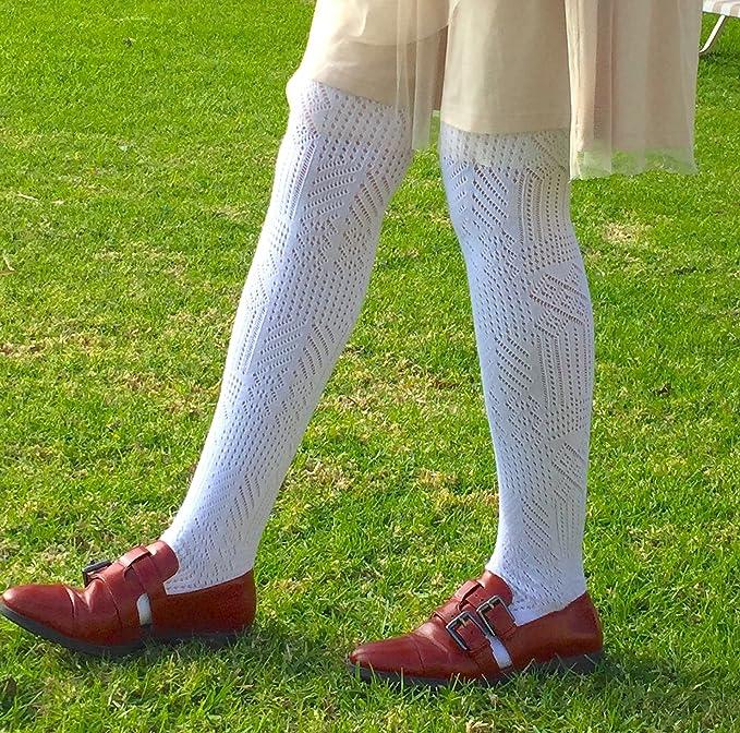 joy workshop señoras medias de algodón blanco abierta de punto de ganchillo pointelle pantimedias M - XXL