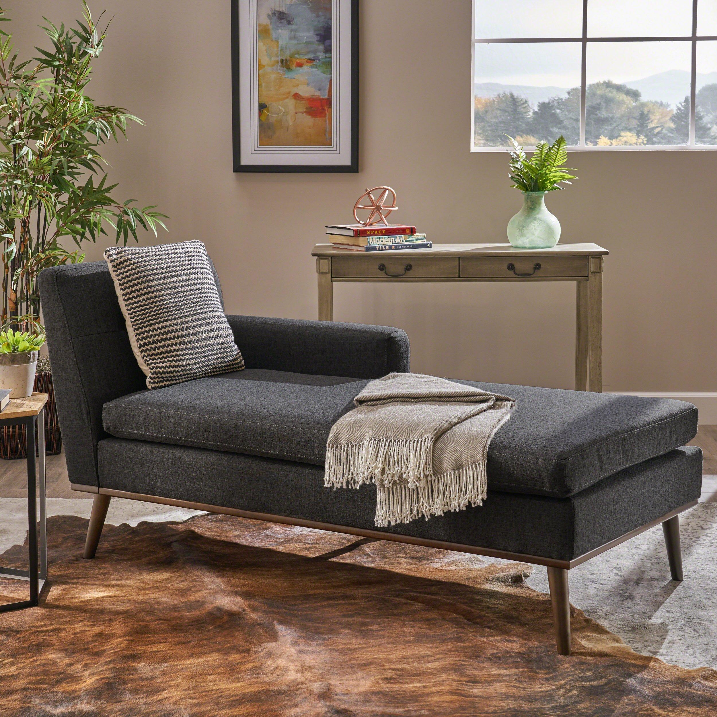 Christopher Knight Home Sophia Mid Century Modern Fabric Chaise Lounge, Muted Dark Grey/Walnut by Christopher Knight Home