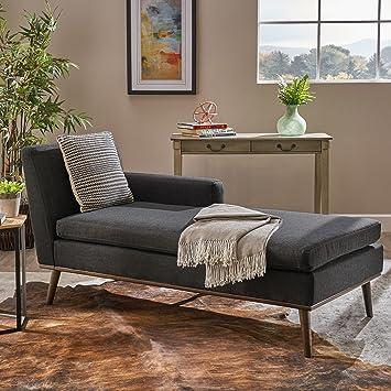 Astounding Christopher Knight Home Sophia Mid Century Modern Fabric Chaise Lounge Muted Dark Grey Walnut Beatyapartments Chair Design Images Beatyapartmentscom