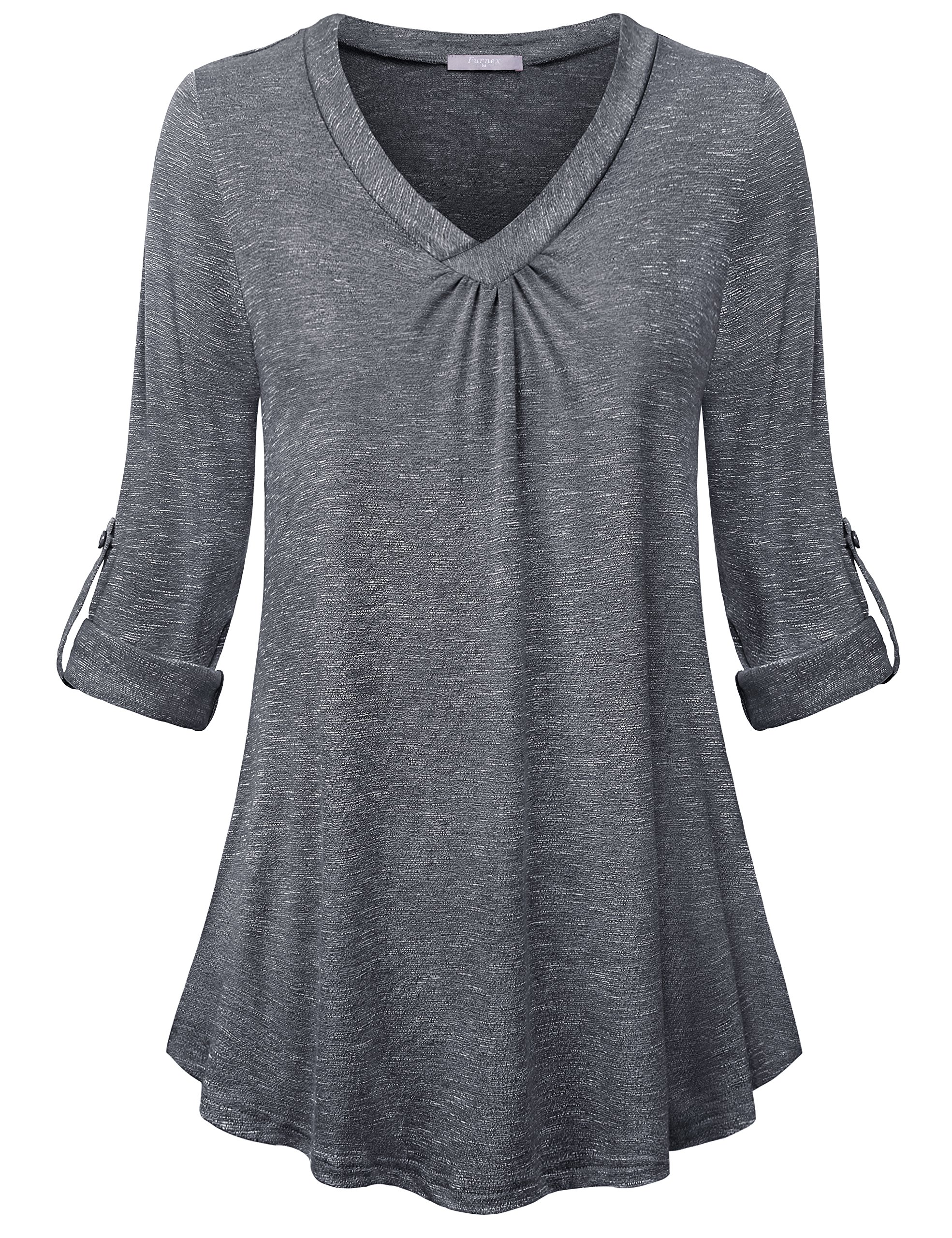 Furnex Plus Size Tunic Tops, Cuffed Sleeve Shirts for Women Casual Loose Fit Shirt V-Neck Pleated Hem Knit Tunics for Women Office Work to wear with Leggings Dark Grey Large
