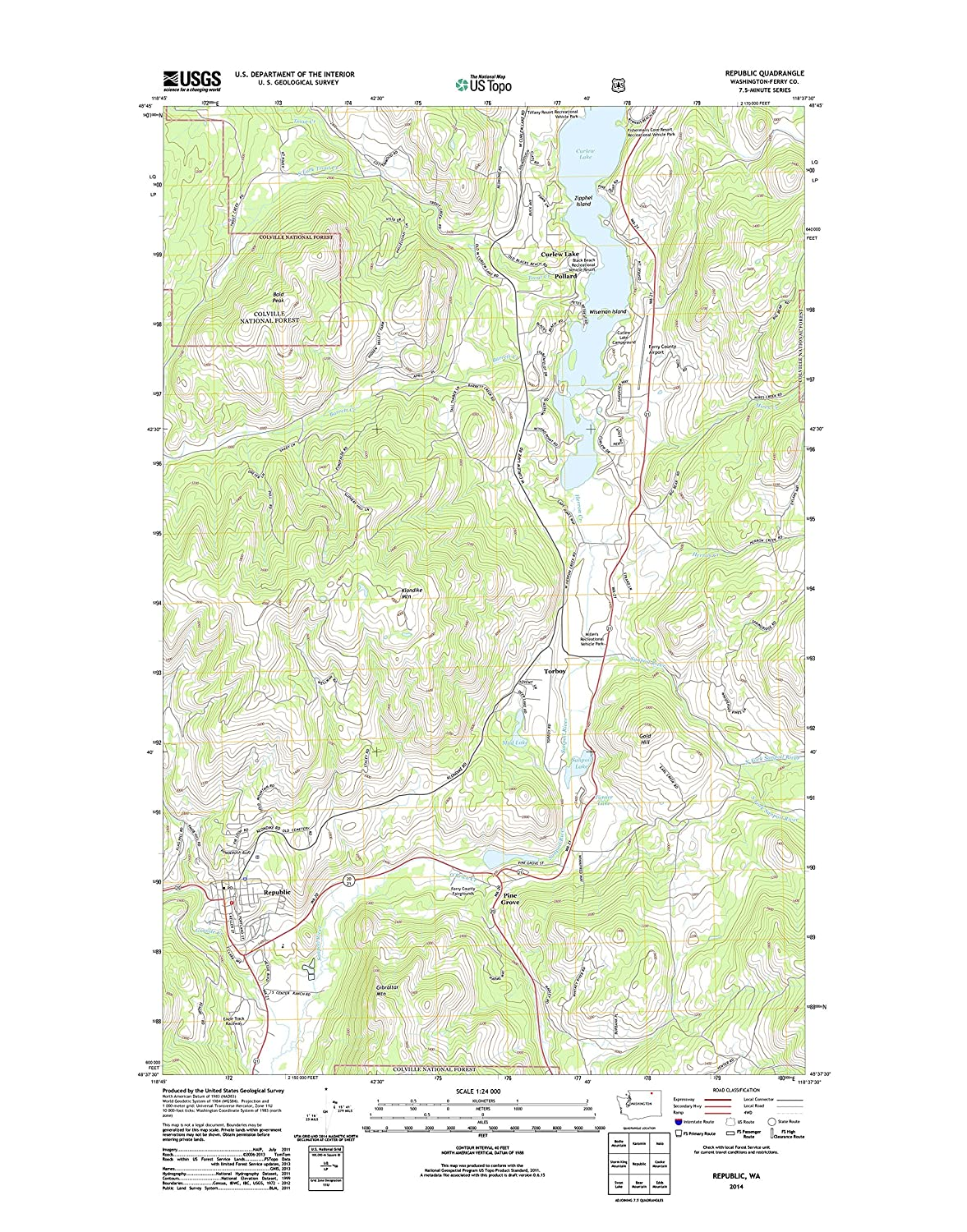 Amazon Com Topographic Map Poster Republic Wa Tnm Geopdf 7 5x7 5