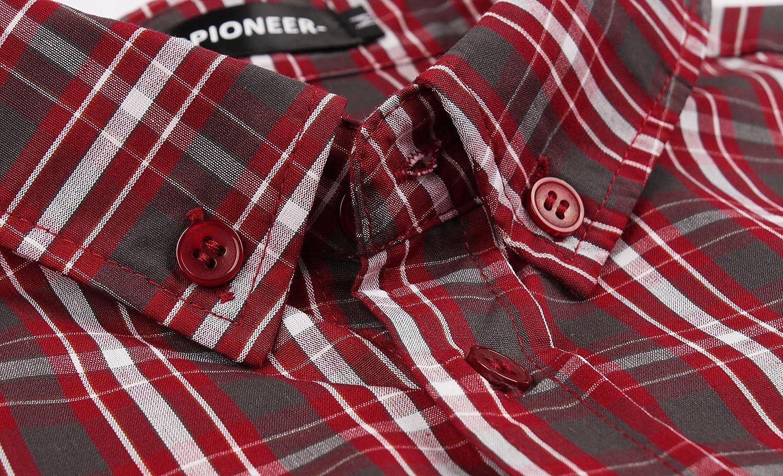 Hopioneer Men/'s Button Down Short Sleeve Shirt 100/% Cotton Button Up Plaid Casual Shirt Regular fit