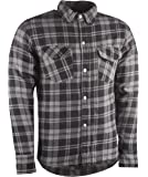 Highway 21 Marksman Men's Motorcycle Long Sleeve Flannel Shirt W/CE Armors/PE Back Armor Black/Grey Size XL