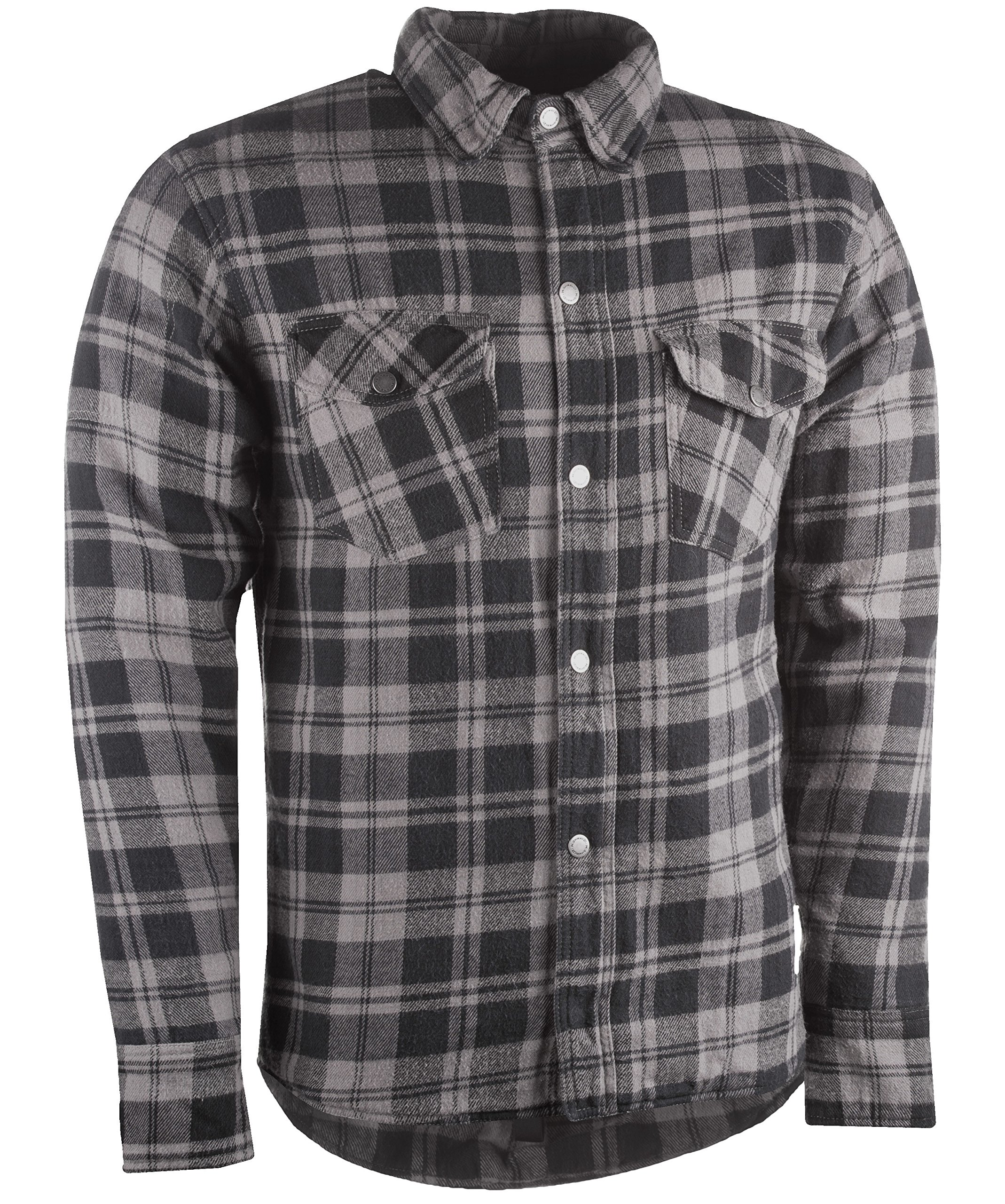 Highway 21 Marksman Men's Motorcycle Long Sleeve Flannel Shirt W/CE Armors/PE Back Armor Black/Grey Size Large