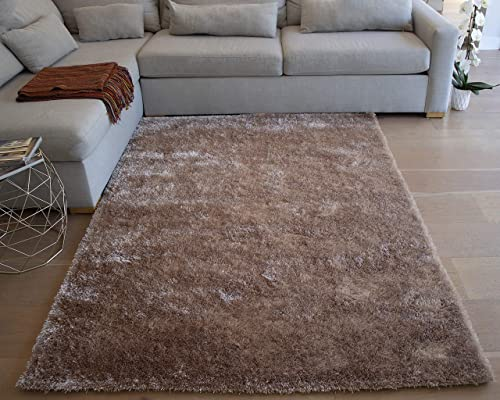 LA Large Plush Fluffy Soft Furry Fuzzy Shag Shaggy Big Soft Plush Rectangle Plain Solid 8-Feet-by-10-Feet Polyester Made Area Rug Carpet Rug Beige Color