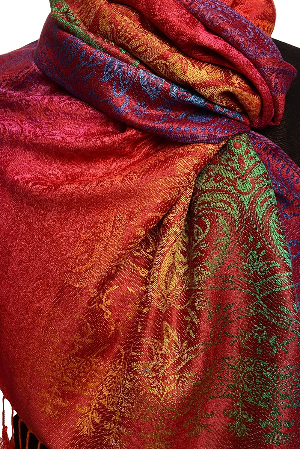 Rot Scarf Schal Einheitsgroesse 70cm x 180cm LissKiss Mirrored Ombre Paisleys On Red Pashmina Feel With Tassels