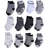 ShoppeWatch 12 Pairs Baby Socks with Grips Anti-Slip Non-Skid Bottoms For Kids Infant Babies Boys 2T and 3T Walkers BBSK38B