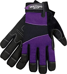 West Chester Protective Gear 012I/S Women's West County Gardener Gloves – Small, Iris, Work Gloves with Four-Way Spandex Backing, Adjustable Cuff