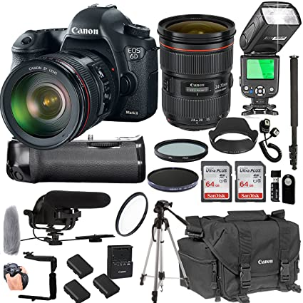 Canon EOS 6D Mark II with 24-70mm f/2 8 L II USM Lens + 128GB Memory +  Canon Deluxe Camera Bag + Pro Battery Bundle + Power Grip + Microphone +  TTL