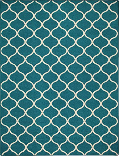 Maples Rugs Rebecca Contemporary Area Rugs for Living Room Bedroom Made in USA , 7 x 10, Teal Sand