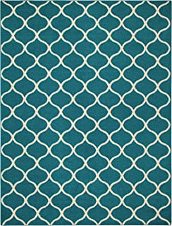 product image for Maples Rugs Rebecca Contemporary Area Rugs for Living Room & Bedroom [Made in USA], 7 x 10, Teal/Sand