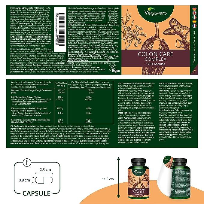 Colon Care Complex Vegavero® | Limpieza Intestinal + Colon Irritable + Hinchazón + Toxinas + Estómago | 120 Cápsulas | Hinojo + Psyllium + Jengibre + ...