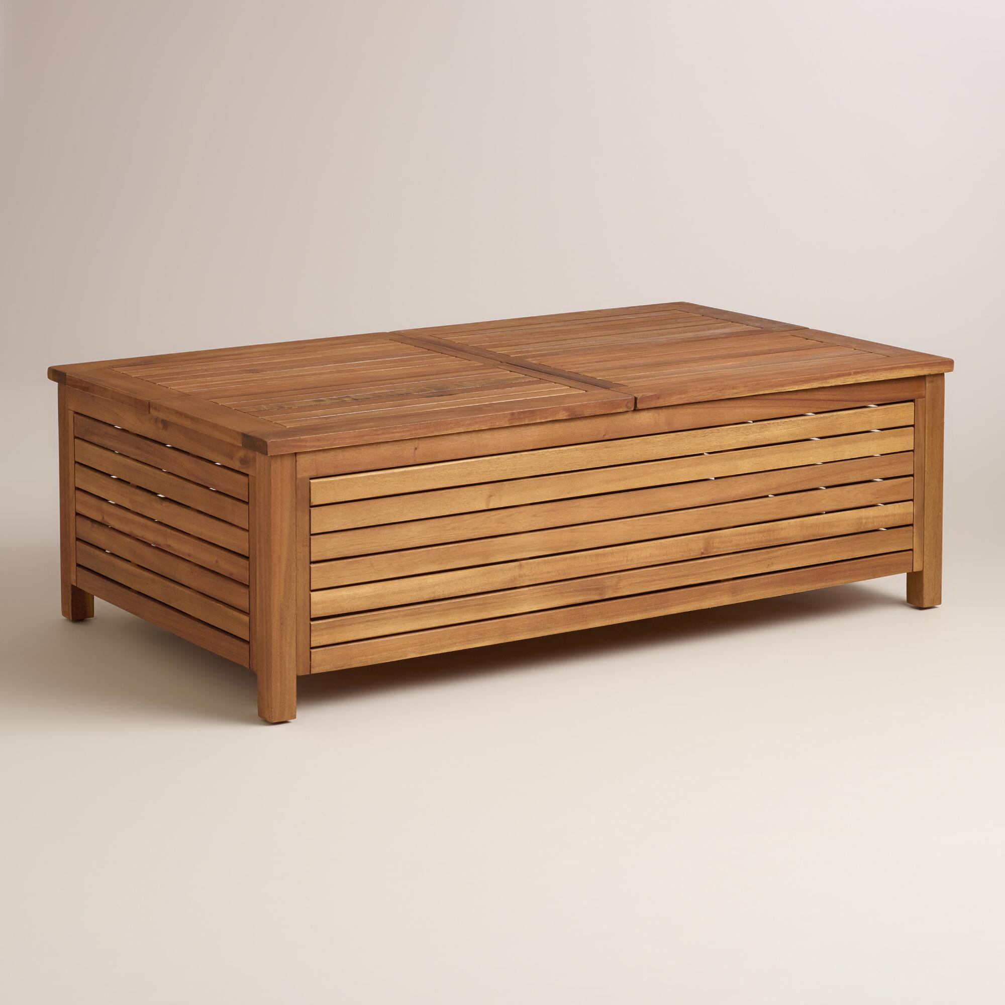 Wood Praiano Outdoor Storage Coffee Table | World Market
