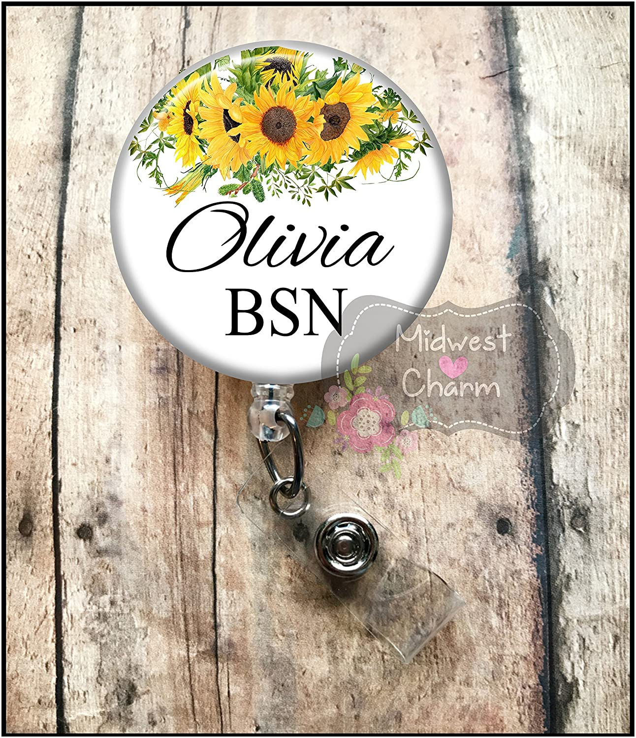 Sunflowers..Retractable badge holder, nurse gift, ob, L& D, id holder, reel, RN, LPN, CNA Personalized Christmas Gift