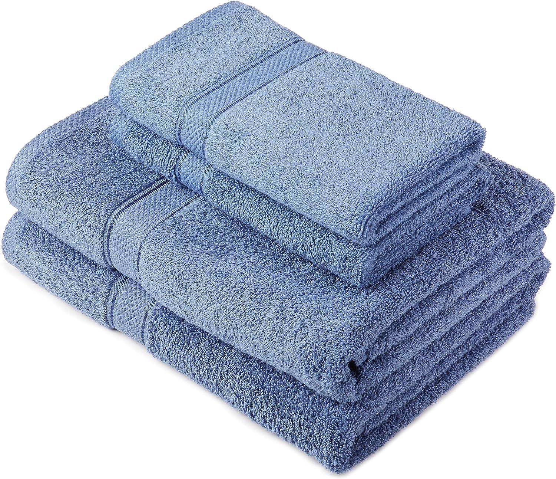 Pinzon by Amazon - Juego de toallas de algodón egipcio (2 toallas de baño y 2 toallas de manos), color azul claro: Amazon.es: Hogar