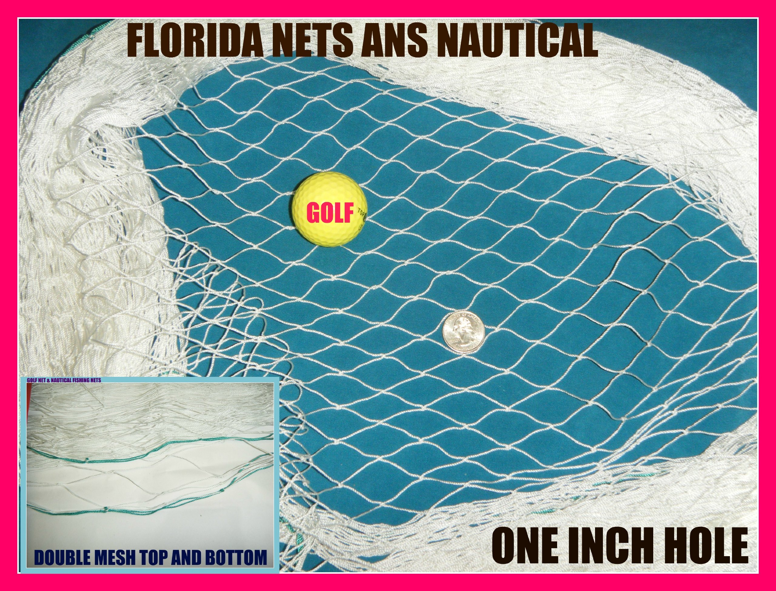 30 X 25 Fish Net, Fishing Net, Netting for Golf Backstop, Hockey, Barrier, Cage