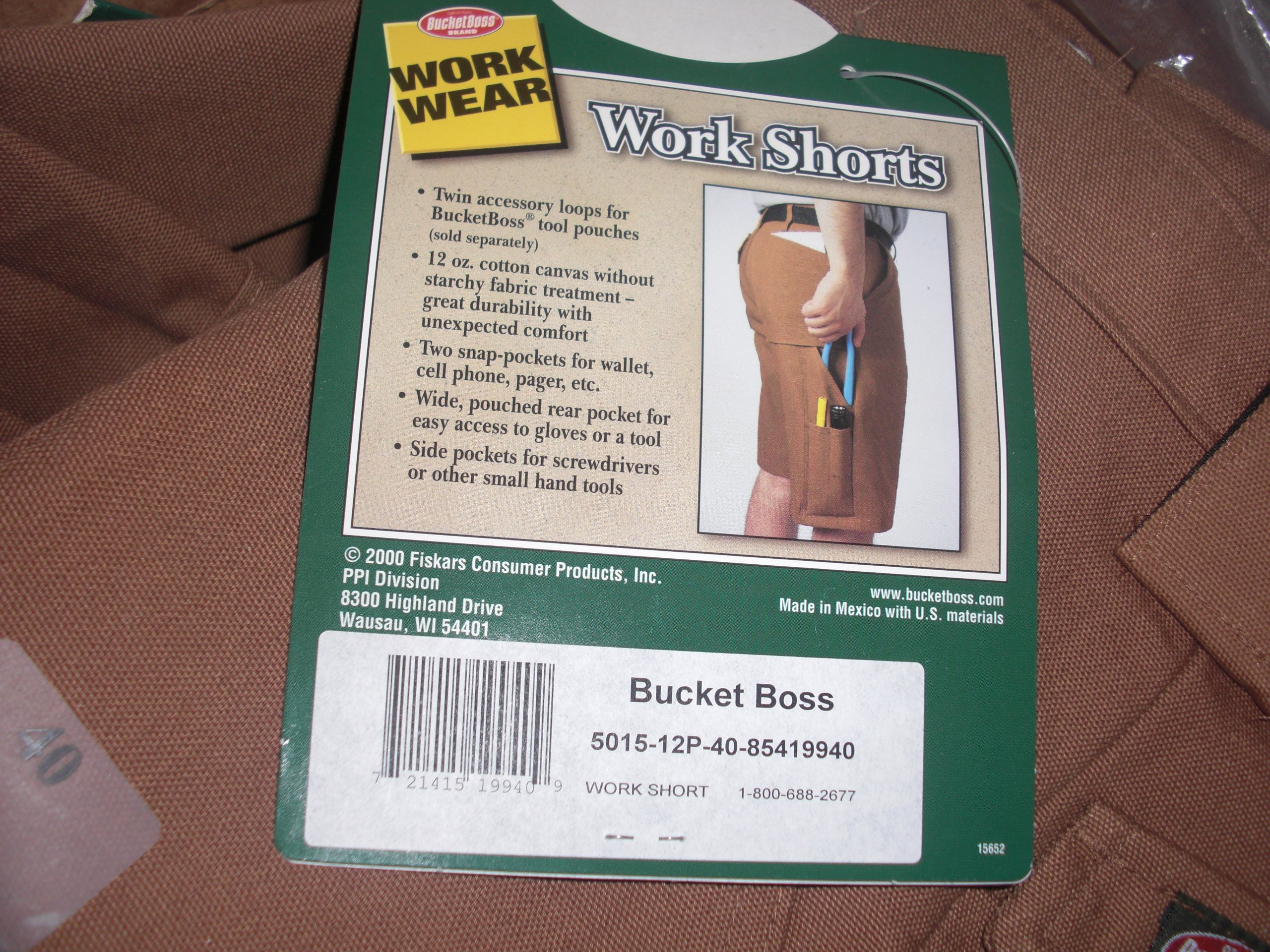 Bucket Boss Work Shorts 40 Waist 5015 Brown