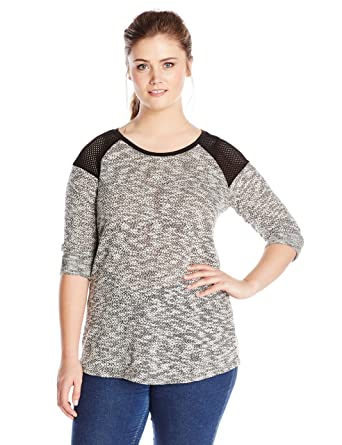 303220417eb Derek Heart Juniors Plus-size 3 4 Sleeve Sweater Knit Tunic Top with Mesh