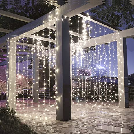Amazon.com : LEORX 300 LED Curtain Lights, 8 Modes Curtain Fairy ...