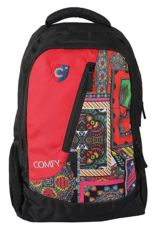 fc65036856 19 Inch Light Weight Multipurpose Backpack for School-College Students  (Black   Red-Print)  Amazon.in  Bags