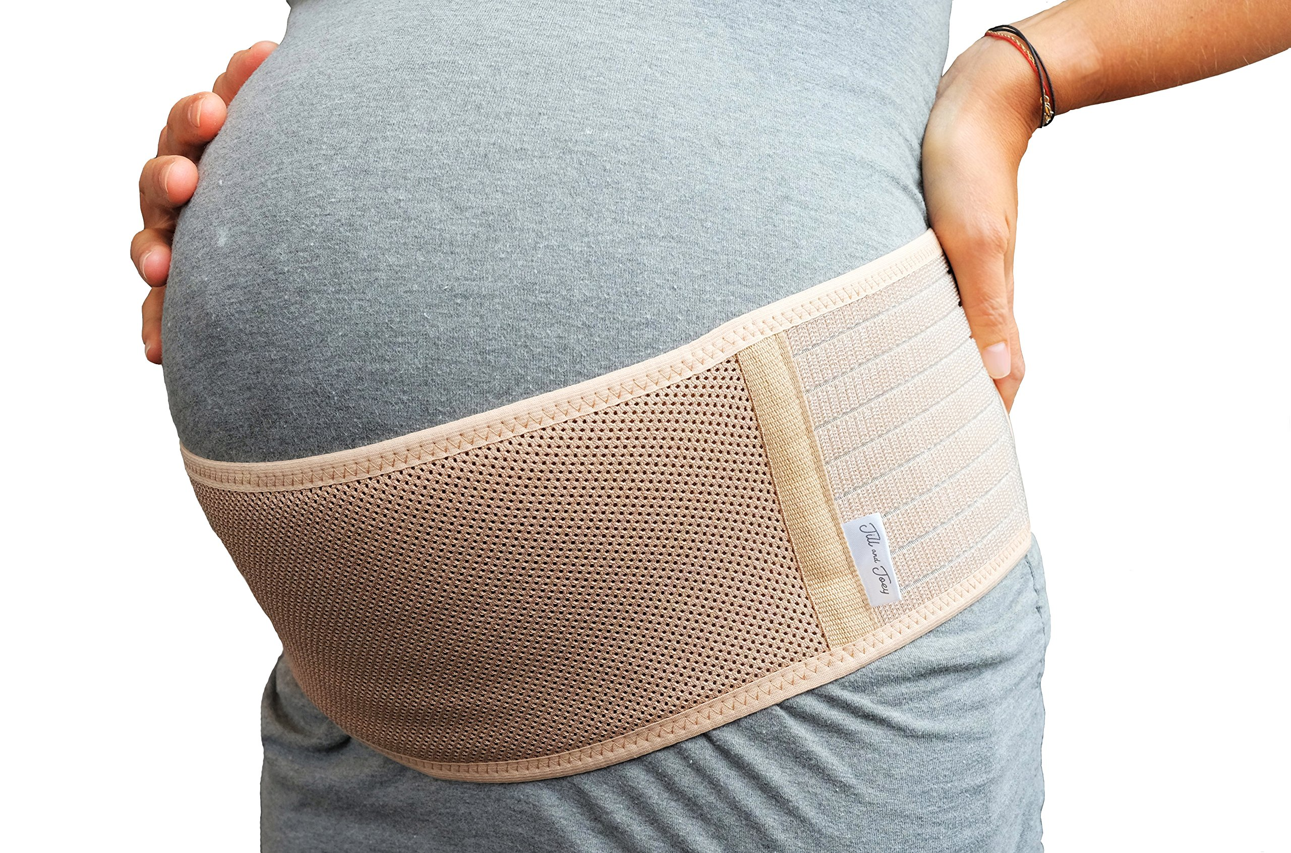 Jill & Joey Belly Band for Pregnancy - Back and Belly Support to Soothe Pregnancy and Maternity Pain in Hips and Pelvis - Breathable Band, Adjustable Size, Beige