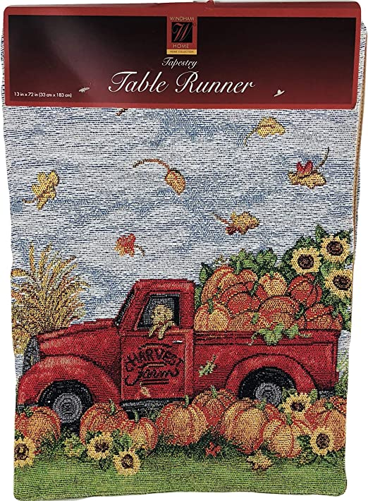 """FALL Tapestry Placemat/'s 13/"""" x 18/"""" HARVEST FARM//VINTAGE RED TRUCK Set of 2"""