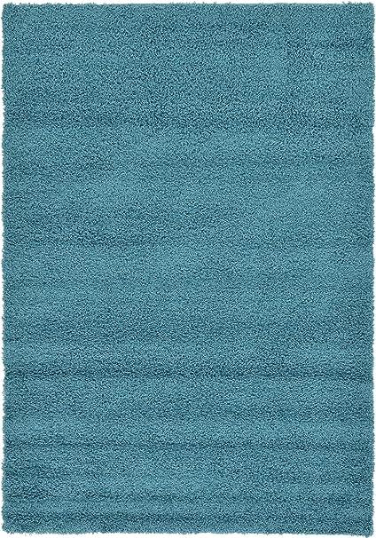 A2z Rug Cozy Shaggy Collection 6x9 Feet Solid Area Rug Deep Aqua Blue