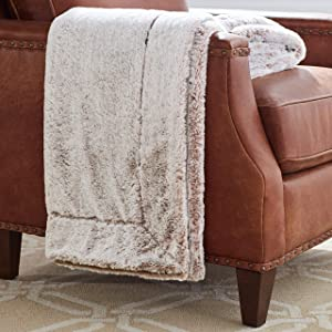 """Amazon Brand – Stone & Beam Faux Fur Throw Blanket, Soft and Luxurious, 80"""" x 60"""", Chocolate Brown"""