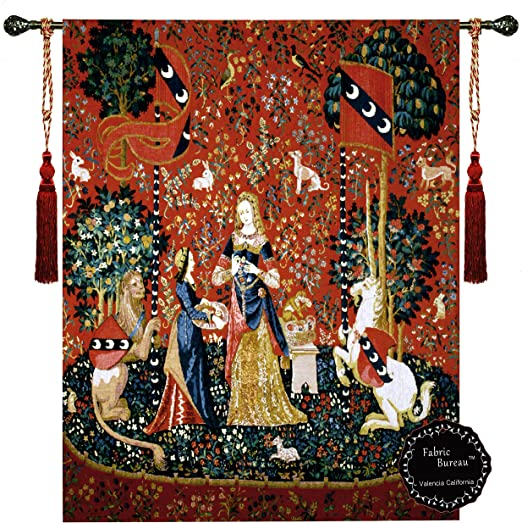 """Smell-the Lady and the Unicorn Woven wall hanging  H 55/"""" x W 41/"""" TAPESTRY"""