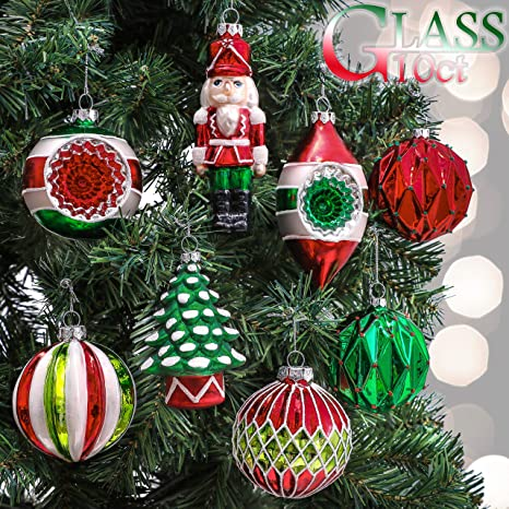 Red Christmas Ball Ornaments.Valery Madelyn 10ct Classic Collection Splendor Glass Christmas Ball Ornaments Red Green And White Themed With Tree Skirt Not Included