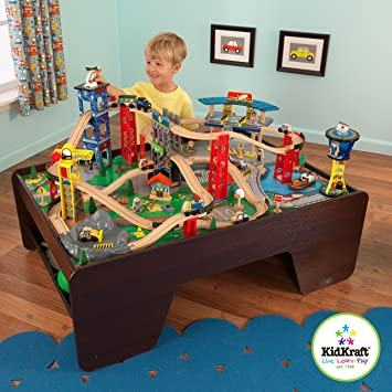 Amazon.com: KidKraft Super Highway Train Set & Table Combo: Toys & Games
