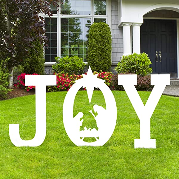 Christmas Joy Nativity Scene Yard Sign Decorations Xmas Outdoor Lawn Decor Assembly Needed Amazon Com Au Lawn Garden