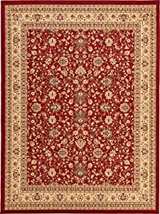 Unique Loom Kashan Collection Traditional Floral Overall Pattern with Border Burgundy Area Rug (9' 10 x 13' 0)