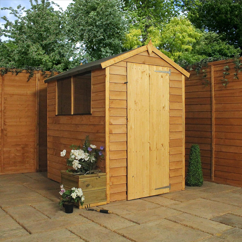 6x4 overlap wooden apex garden shed styrene windows single door by waltons amazoncouk garden outdoors
