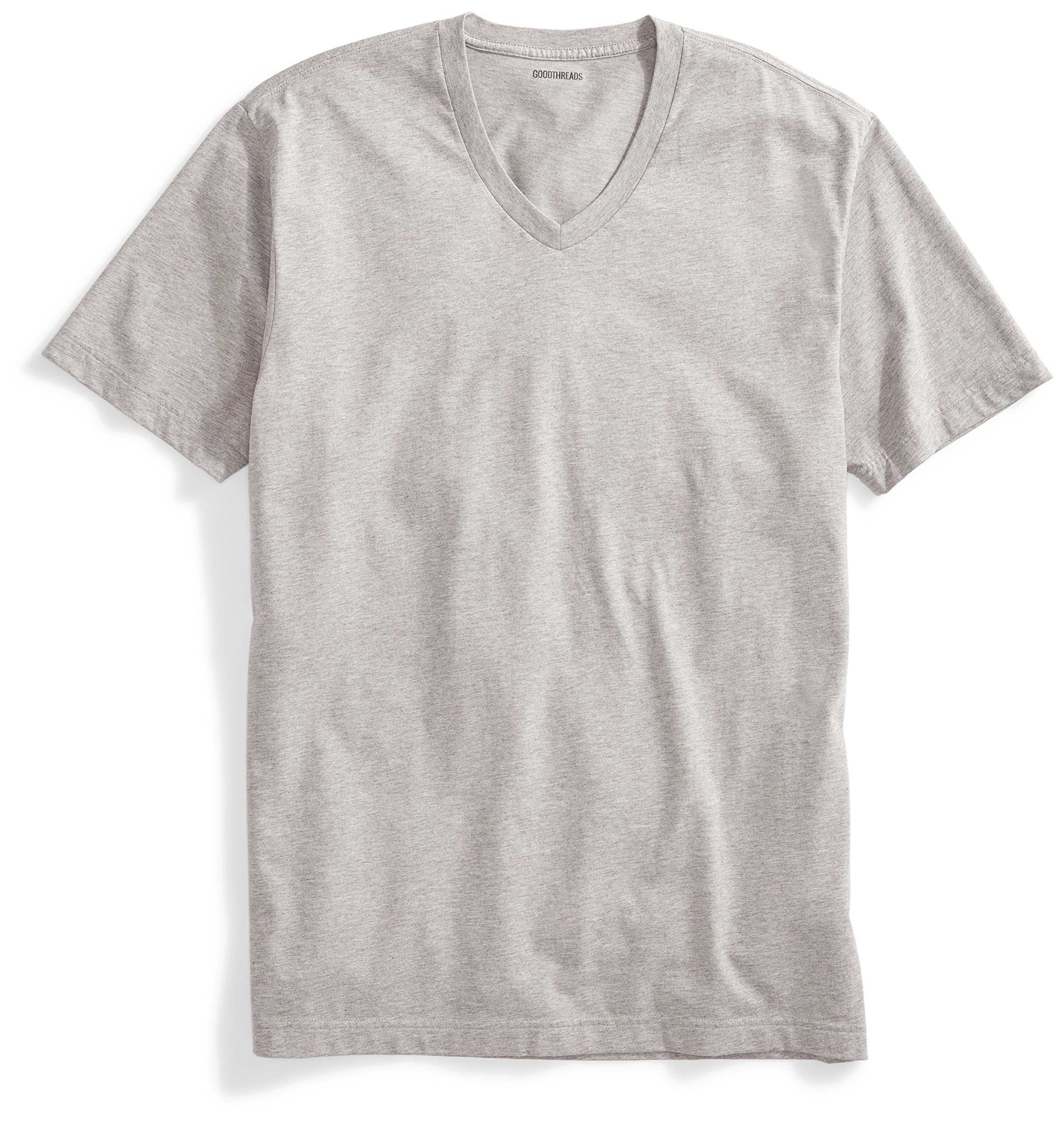 Goodthreads Men's Short-Sleeve V-Neck Cotton T-Shirt, Heather Grey, Medium