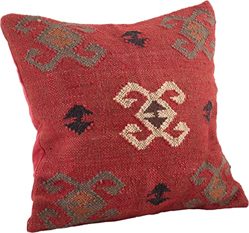 SARO LIFESTYLE Collection 5174.M20S Kilim Design Duck Filled Throw Pillow, 20 , Red