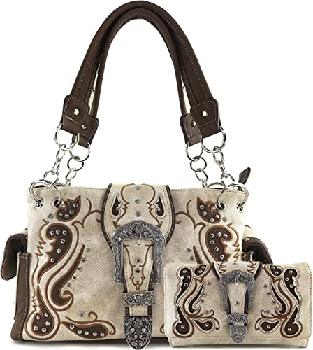 Western Style Rhinestone Buckle Shoulder Concealed Carry Womens Handbag Purse Wallet