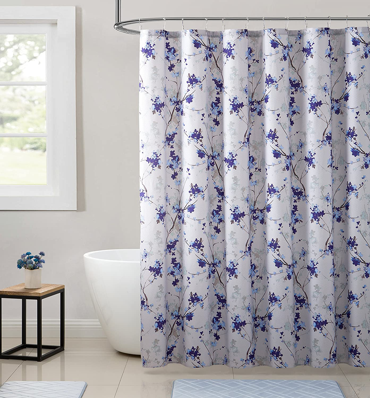 80OFF Elegant Purple Blue Beige Fabric Shower Curtain Watercolor Floral Print Nature Design