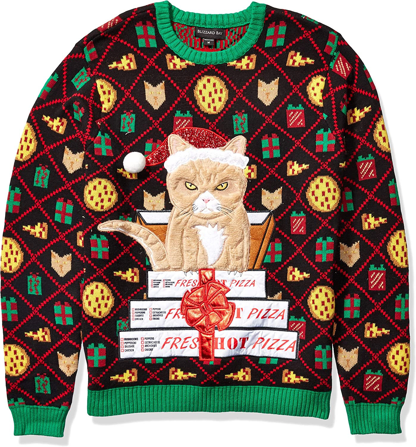 Blizzard Bay Womens Sequin Cats Light Up Christmas Sweater