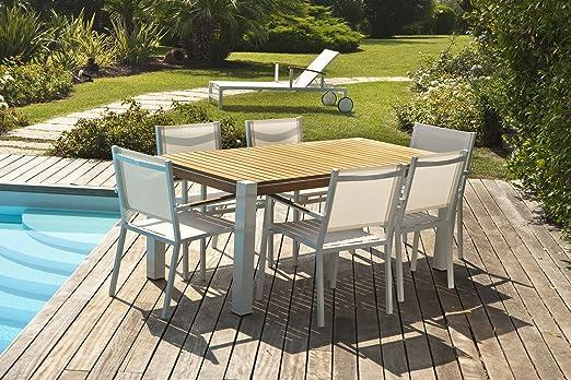 Re Desiderio Arredo Giardino.Tavolo Alluminio E Teak Rd0028 Amazon It Giardino E Giardinaggio