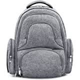 Swish Baby Diaper Bag Backpack w/ Insulated Pockets and Stroller Strap - Large Waterproof Multi-Function Travel Organizer - Changing Pad, Bottle Holder and Pacifier Clip Included (Grey)