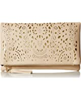 BMC Womens Perforated Cut Out Gold Accent Foldover Pouch Fashion Clutch Handbag