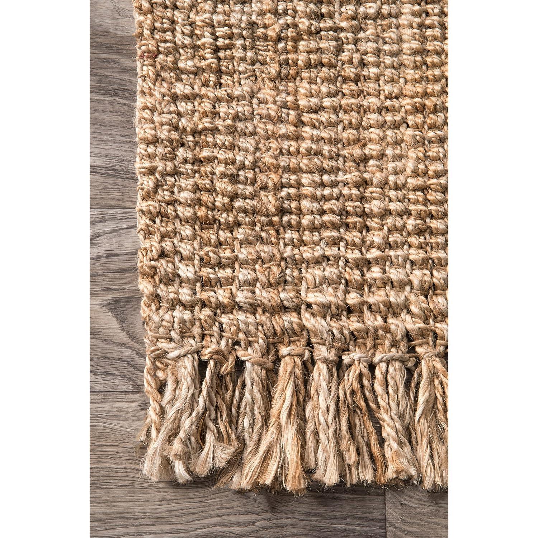 nuLOOM Natural Hand Woven Chunky Loop Jute Runner 2 6 x 10