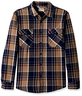 8c02f2731a84 Amazon.com  Brixton Men s Coors Bowery Long Sleeve Flannel  Clothing